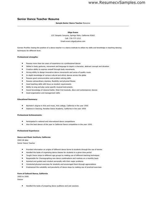 dancer resume sle resumes template learnhowtoloseweight net