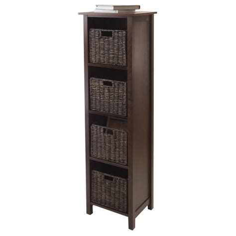 Shelf Of Sec by 5pc 4 Section Storage Shelf With 4 Baskets In Walnut 94811