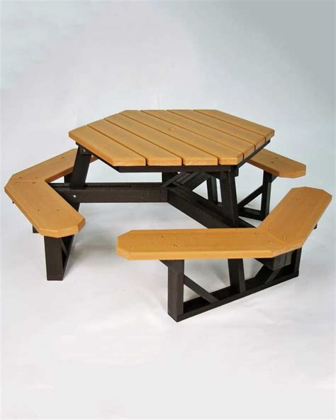 plastic picnic table hexagon recycled plastic picnic table park warehouse