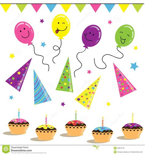 Ballons Biscuits And Celebration On Birthday Royalty Free