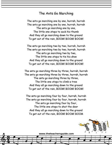 printable lyrics to next in line by lisa knowles ants go marching lyrics printout preschool stuff