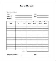 Printable Time Card Template 8 Printable Time Card Templates Free Word Excel Amp Pdf