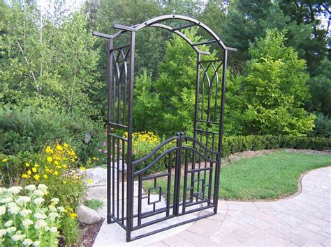 Garden Arbor With Gate Wrought Iron Oakland Living Mississippi Wrought Iron Royal Arbor With