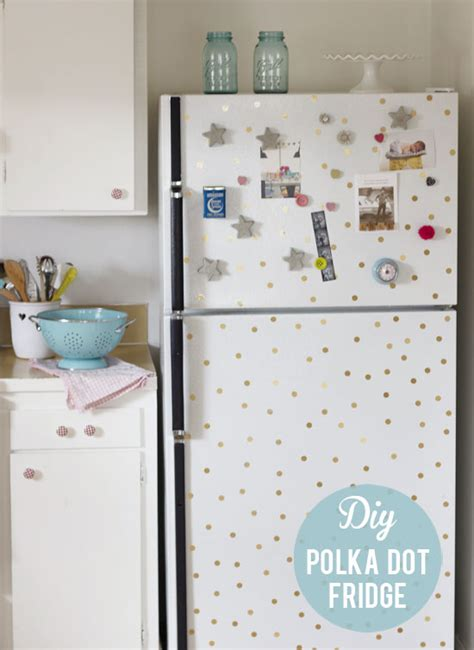 How To Make A Paper Refrigerator - diy polka dot fridge at home in