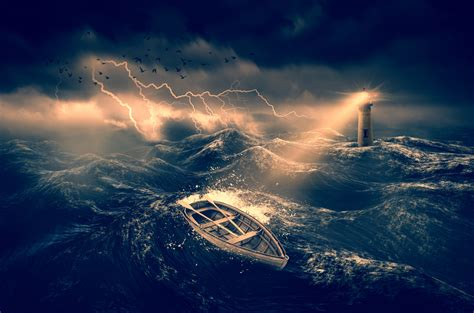 boat sea pictures wooden boat in a stormy sea free stock photo public