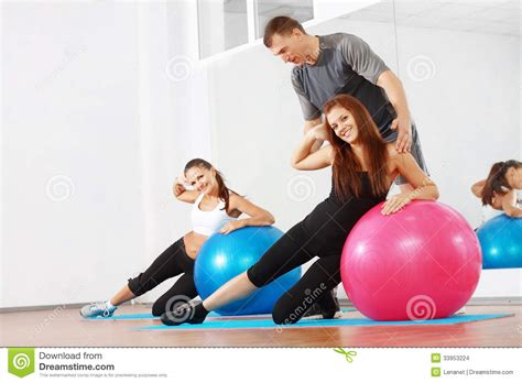 couch gym sporty women with couch stock images image 33953224