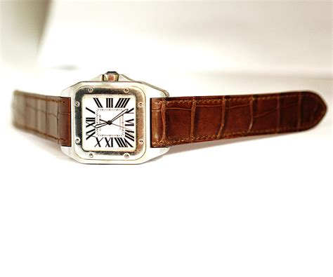 Avery Sling Brown Phillipe Jourdan 23mm in brown matte alligator leather for cartier santos 100