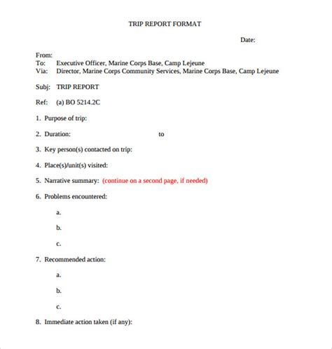 trip report template trip report template 12 documents in pdf