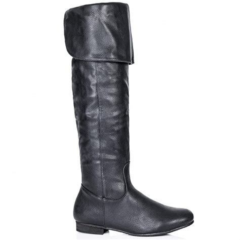 buy alik flat zip knee high boots black leather