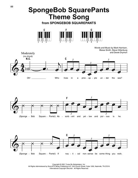 theme music songs spongebob squarepants theme song sheet music by mark