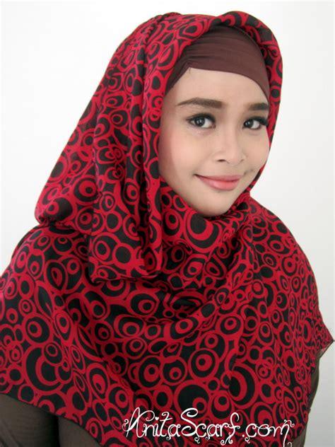 Pashmina Polka Hijau segiempat abstrak merah polkadot besar scarf
