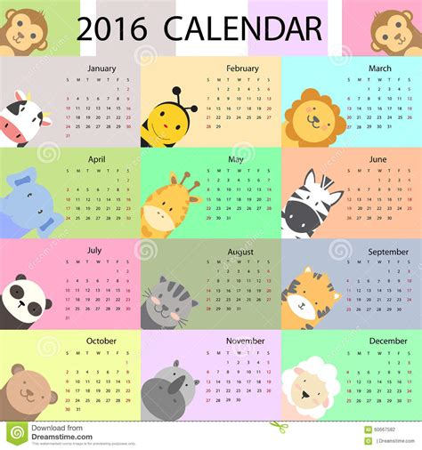 design calendar illustrator cute calendar stock vector image 60667582