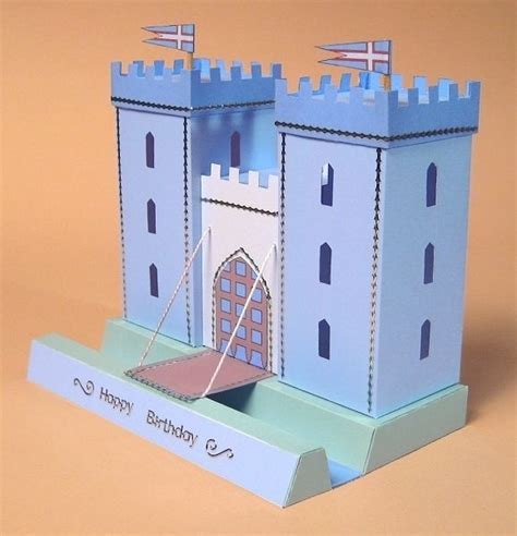 Gift Card Holder Castle Template by A4 Card Templates For 3d Opening Castle Display
