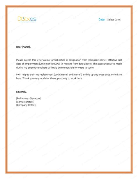 letter of resignation template word 5 resignation letter templates to write a professional