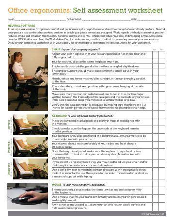 Computer Workstation Ergonomic Self Assessment Checklist Safety Ergonomic Office Checklist Template