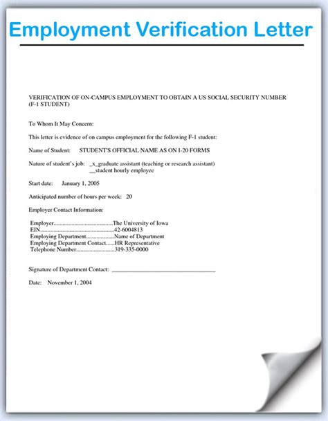 employment verification letter template sle employment