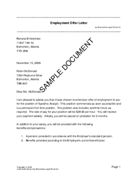 Letter Of Agreement For Teachers Printable Sle Offer Letter Template Form Template Letter Templates