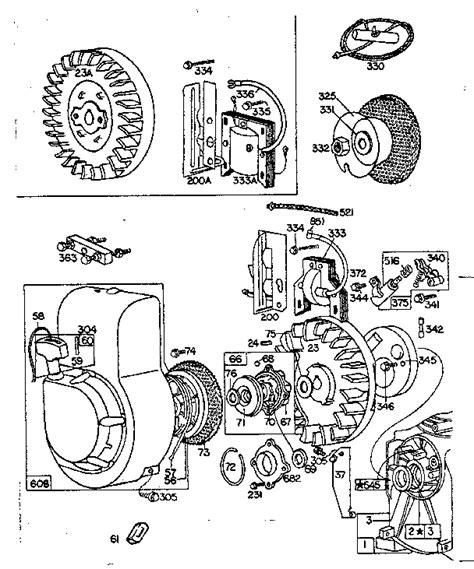 briggs and stratton recoil starter assembly diagram briggs stratton briggs and stratton gas engine rewind