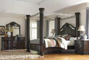 marble top bedroom sets laddenfield 5pc king canopy bedroom set brown traditional