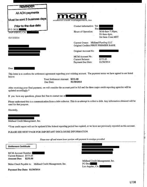 debt settlement letter sle
