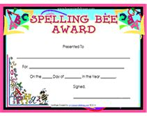 spelling bee participant certificates new calendar
