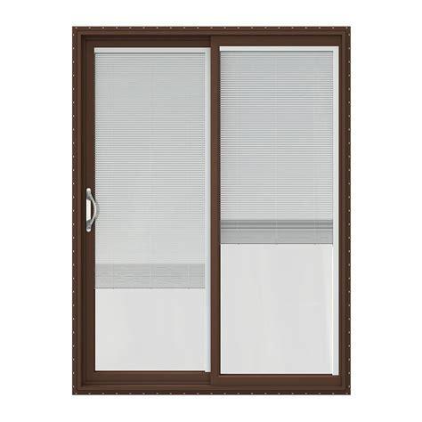 Plastic Patio Doors Jeld Wen 60 In X 80 In V 2500 Series Vinyl Sliding Patio Door With Blinds Jw1815 00164 The