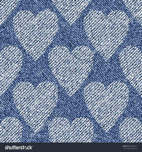 pattern for blue jeans hearts vector denim seamless pattern blue stock vector