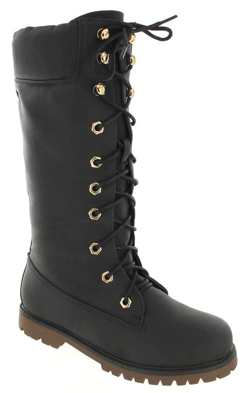 wide calf lace up boots womens army lace up flat combat biker wide calf