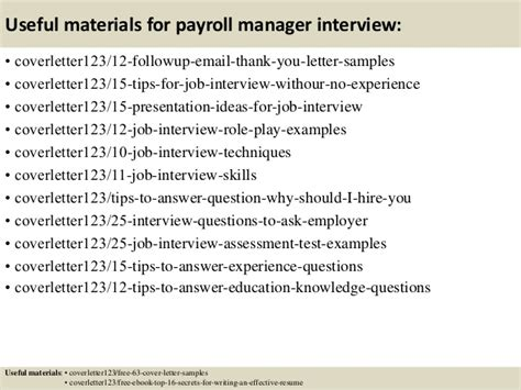 payroll manager cover letter top 5 payroll manager cover letter sles
