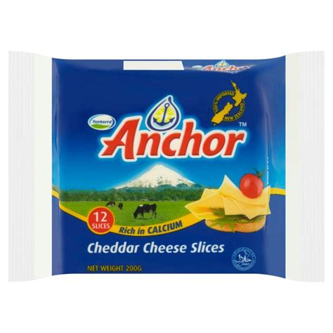 Anchor Cheddar By Moza Kitchen anchor cheddar cheese slices 12 slices 200g mydin