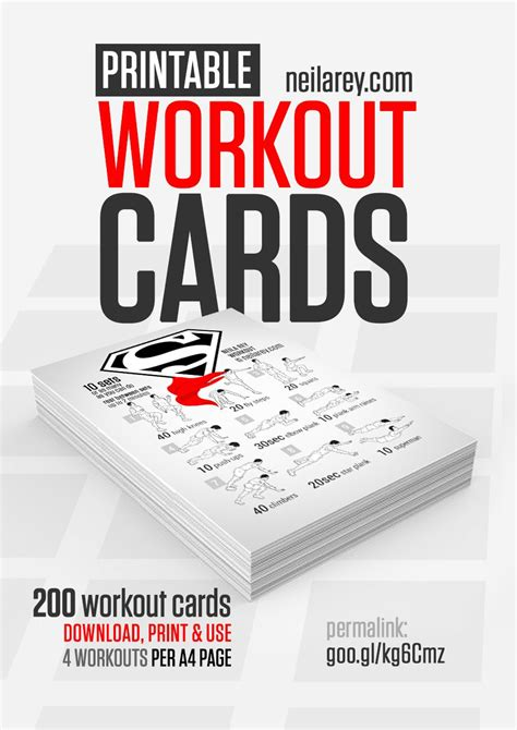 printable exercise flash cards free printable workout cards by neila rey website is now