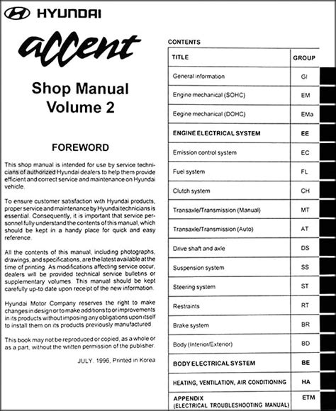 service repair manual free download 1996 hyundai accent electronic valve timing 1997 hyundai accent repair shop manual original 2 volume set