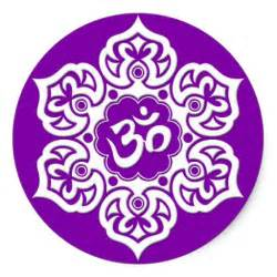 Lotus Flower With Om Symbol Meaning White Lotus Flower Om On Purple Classic Sticker Zazzle
