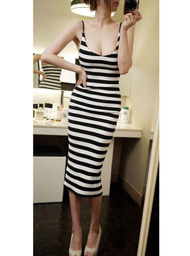 Ftnol White Lowback Dress All Size spaghetti striped dress low back white black
