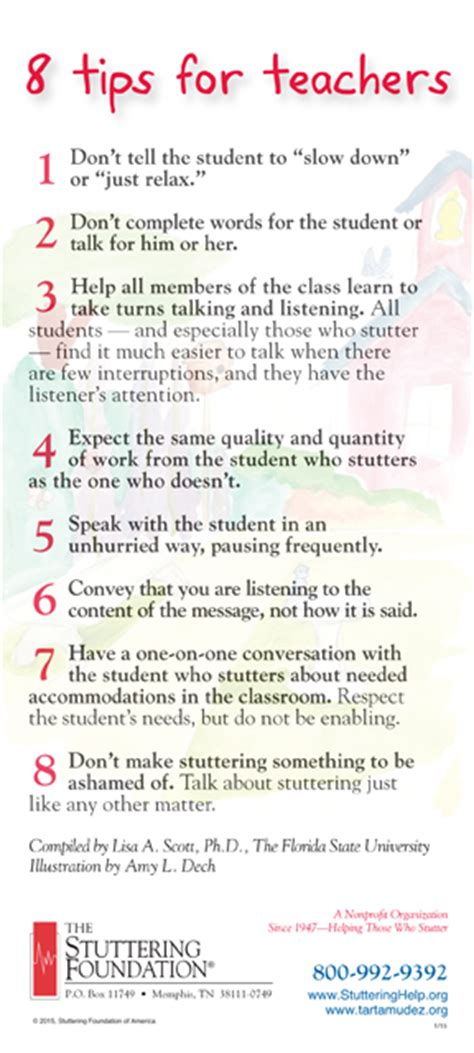 8 Tips For A by 8 Tips For Teachers Stuttering Foundation A Nonprofit