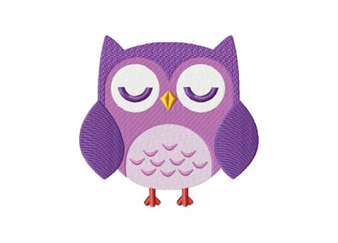 Owl Purple lovely purple owl machine embroidery design daily embroidery