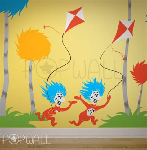 dr seuss home decor dr seuss characters thing 1 thing 2 kites wall decal wall