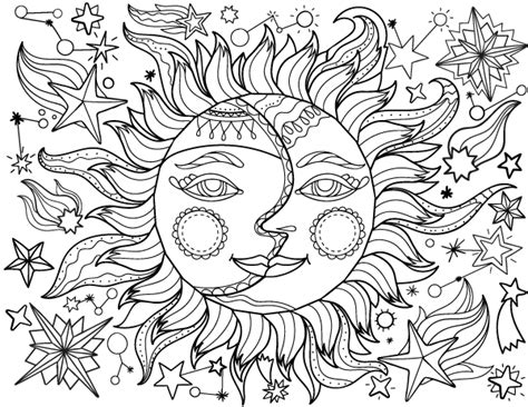 sun coloring page for adults free printable sun and moon adult coloring page download