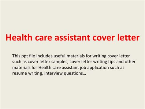 Covering Letter For Health Care Assistant by Health Care Assistant Cover Letter