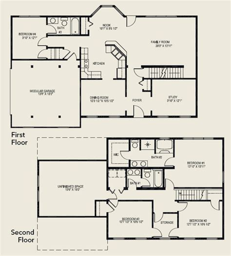 5 bedroom floor plans 2 story two story house plans