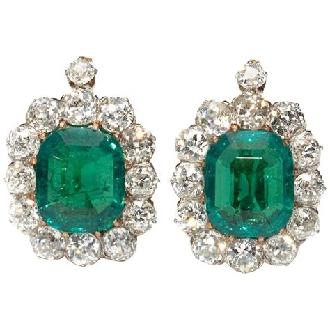 emerald jewellery antique emerald gold cluster earrings at 1stdibs
