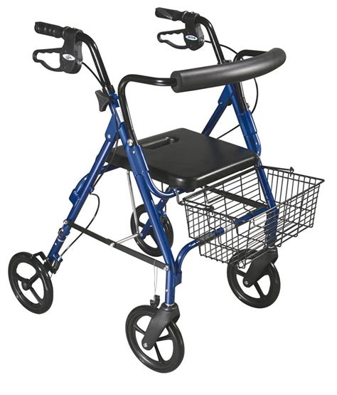 rollator walker with seat and brakes d lite rollator walker with 8 quot wheels and loop brakes