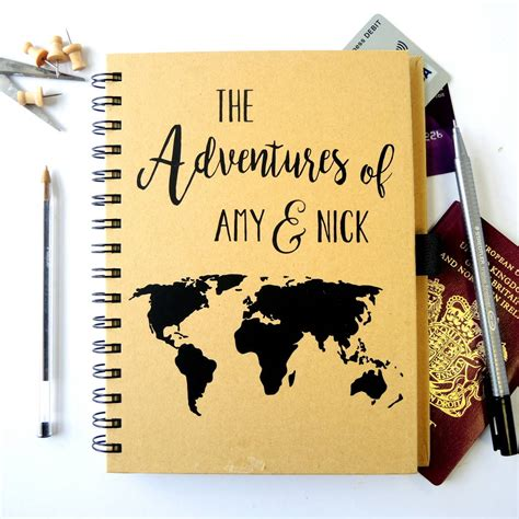 personalised world map travel journal by the alphabet gift