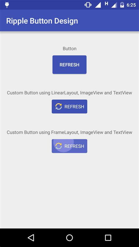 update layout preview button ripple effect touch animation in android for button or