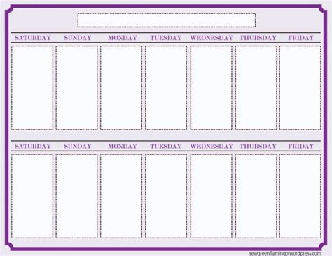 2 week blank calendar vitafitguide