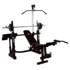pro power bench manual power pro olympic bench w lat tower preacher curl in