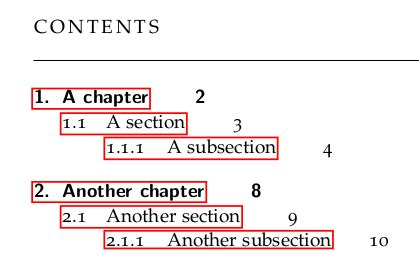 fonts improvements on table of contents in classicthesis