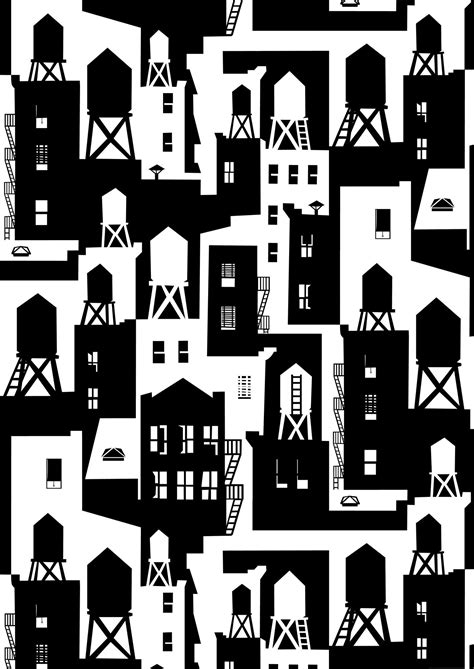 black and white wallpaper on sale new york city watertowers wallpaper in black white