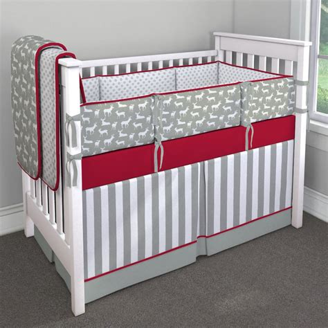 deer crib bedding gray and red deer nursery idea customizable crib bedding