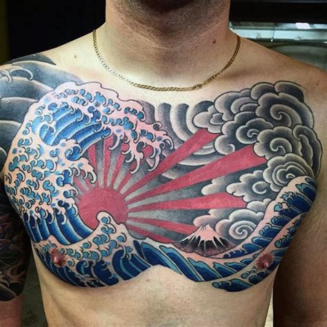 japanese chest tattoo designs 60 japanese wave designs for oceanic ink ideas